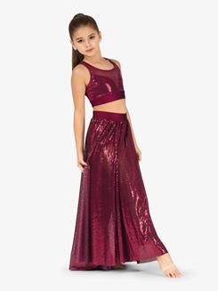 Girls Performance Swirl Sequin Side Slit Skirt