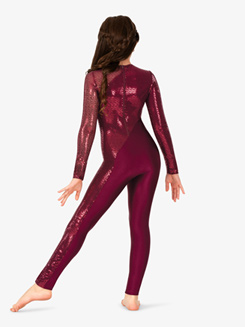Girls Performance Swirl Sequin Full-Length Unitard