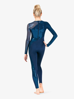 Womens Plus Size Performance Swirl Sequin Full-Length Unitard
