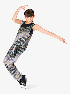 Girls Performance Chevron Print Tank Jumpsuit