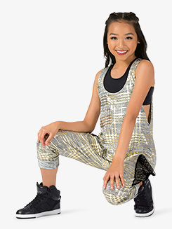 Girls Performance Metallic Tank Harem Jumpsuit