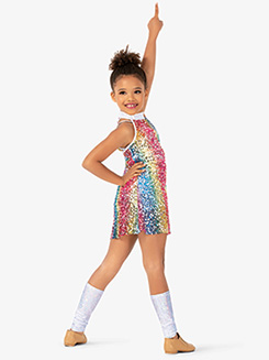 Girls Sequin Halter Babydoll Dance Costume Dress Set