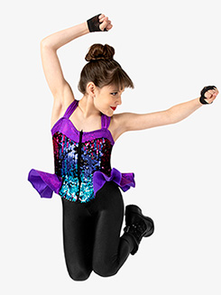 Girls Performance Sequin Zip Up Tank Top