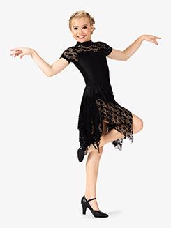 Girls Short Sleeve Lace Ballroom Dress