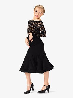 Girls Ruffled Short Ballroom Skirt