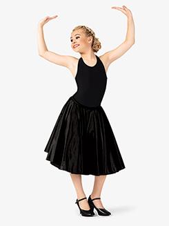 Girls Mid-Length Satin Ballroom Skirt