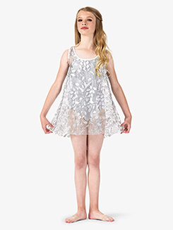 Girls Performance 3D Flower Mesh Tank Dress