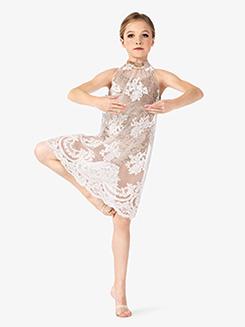 Girls Performance Floral Mesh Tank Dress