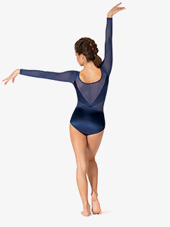 Womens Performance Satin Long Sleeve Leotard