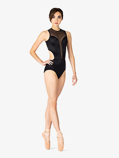 Womens Performance Satin Deep Mesh Tank Leotard