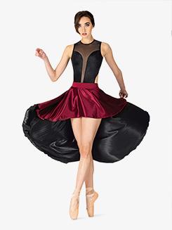 Girls Performance Satin Two-Tone Skirt