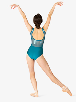 Womens Performance Ultra Sheen Mesh Open Back Tank Leotard