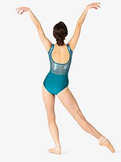Womens Performance Ultra Sheen Mesh Open Back Tank Leotard
