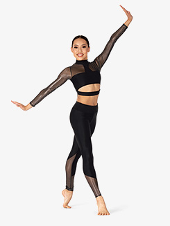 Womens Performance Ultra Sheen Mesh Insert Leggings