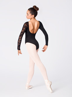 Adult Long Sleeve Leotard with Lace Sleeve and Insert