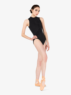 Adult Mock Neck Tank Plunging Back Leotard