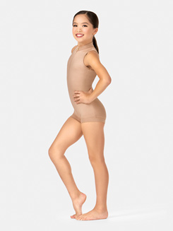 Child Deep V-Back Tank Shorty Unitard