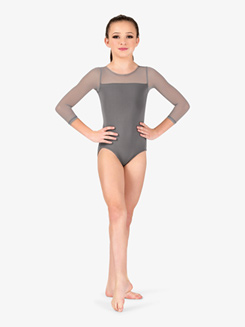 Girls Mesh Yoke Long Sleeve Leotard