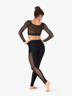 Womens Striped Mesh Dance Crop Top
