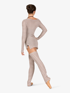 Womens Striped Knit Legwarmers