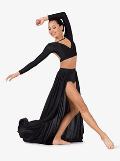 Womens Lyrical Flow Long Open Front Skirt
