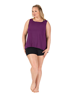 Womens Plus Surplice Back Dance Tank Top