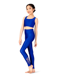 Womens High Waist Strappy Dance Leggings