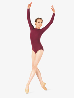 Studio Collection Womens Cotton Pinch Back Long Sleeve Leotard