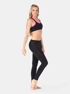 Adult Pink Trim Compression Sports Bra Top