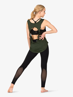 Womens Active Twist Back Cutout Tank Top