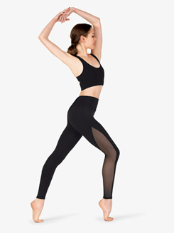 Womens Compression Mesh Insert Workout Leggings