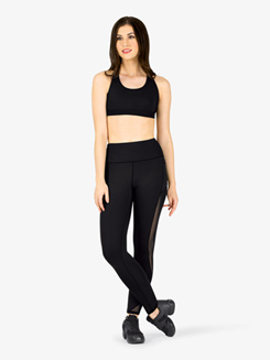 Womens Compression Side Mesh Workout Leggings