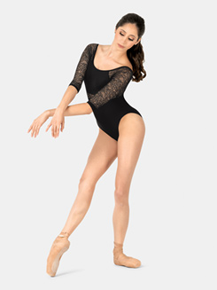Adult 3/4 Sleeve Floral Lace Leotard