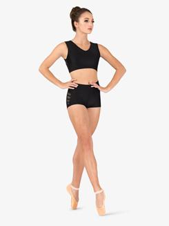 Womens Mesh Binding Side Detail Dance Shorts