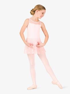 Girls Ribbon Print Mesh Tank Ballet Dress