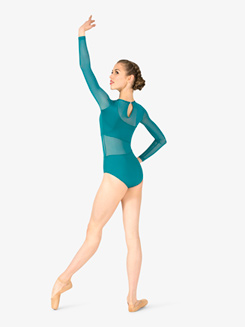 Womens Asymmetrical Mesh Long Sleeve Leotard