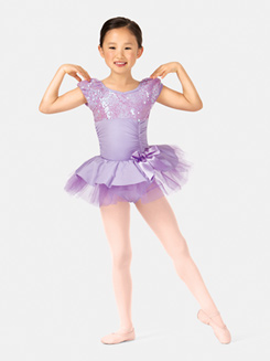 Girls Sequined Short Sleeve Tutu Costume Dress