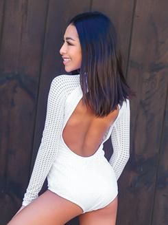 Womens Laser Cut Front Long Sleeve Leotard