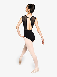 Womens Poised Mesh Open Back Cap Sleeve Leotard