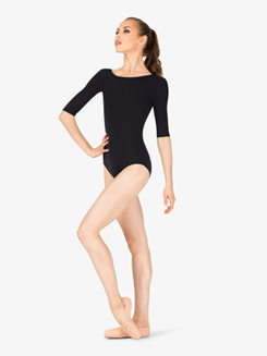 Womens Team Basics Low Back 3/4 Sleeve Leotard