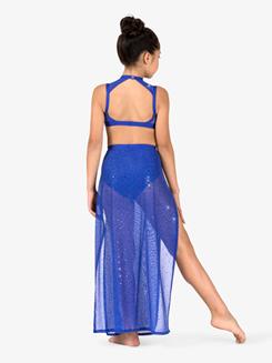 Girls Performance Twinkle Mesh Side Slit Long Skirt