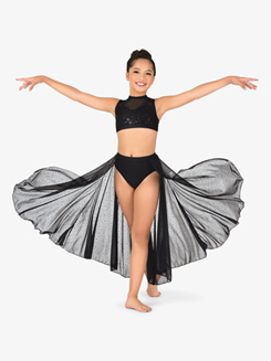 Girls Performance Twinkle Mesh Open Front Asymmetrical Skirt
