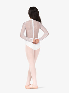 Girls Performance Twinkle Sequin Mesh Long Sleeve Leotard