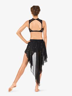 Womens Performance Sheer Twinkle Sequin Mesh Pull-On Skirt