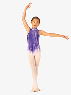 Girls Hand Painted Mock Neck Leotard