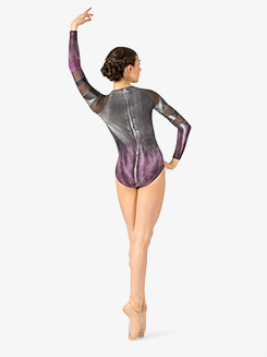 Girls Hand Painted Mesh Insert Long Sleeve Leotard