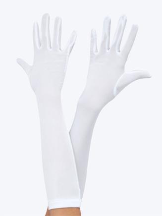 Child Long White Stretch Gloves - Style No 15912