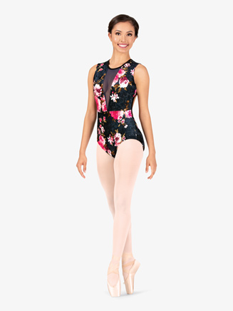 "Girls ""Velvet Blossom"" Flower Tank Leotard - Style No 18001C"