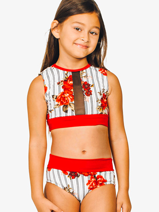 "Girls ""Avery"" Striped Floral Dance Briefs - Style No 1803BC"