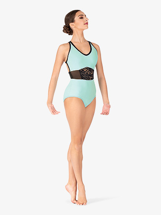 "Womens ""Jessa"" Aqua Strappy Back TankLeotard - Style No 18233"